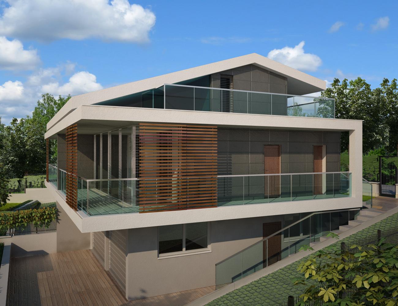 Progetti ville bifamiliari moderne for Architettura ville moderne